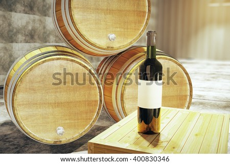 Wine bottle with blank label and wooden barrels in the background. Mock up, 3D Rendering - stock photo