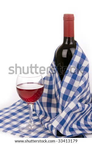 wine bottle with glass - stock photo