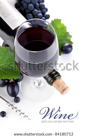 wine bottle with glass and grapes isolated on white background - stock photo
