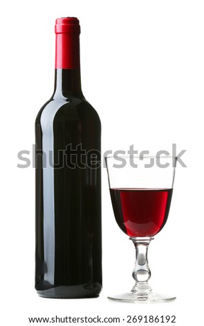 Wine bottle with glass isolated on white - stock photo