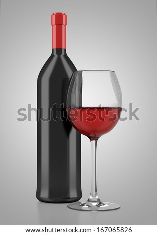 wine bottle with glass of wine isolated on gray background