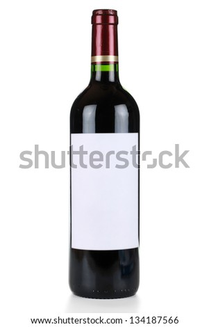 Wine bottle with red wine and an empty label isolated on a white background