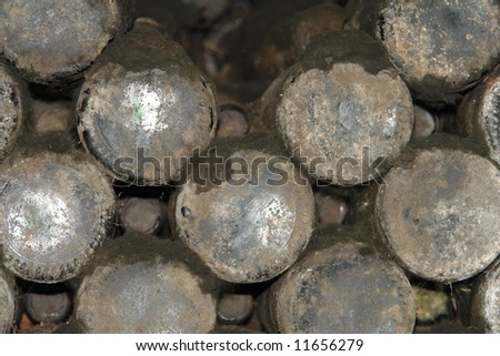 wine bottles in curing cellar - stock photo