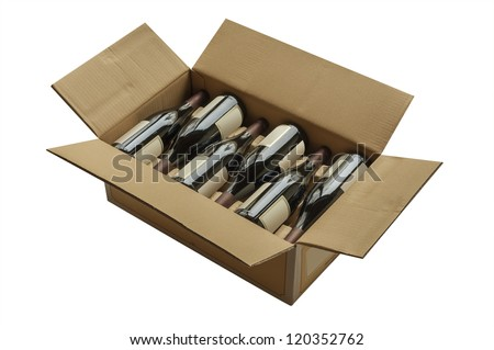 Wine bottles now shipped in cardboard boxes - stock photo