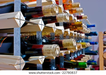 Wine bottles sit on the rack