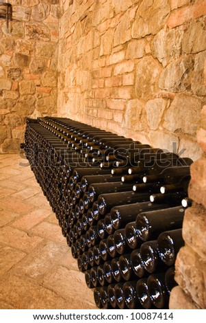 wine bottles waiting to be shipped - stock photo