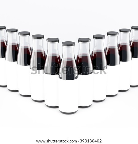 Wine bottles with wide neck arranged in arrow, blank labels on them. White glass. Concept of bottling wine. Mock up. 3D rendering. - stock photo