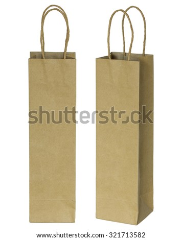 wine brown paper bag for bottles isolated on white with clipping path - stock photo