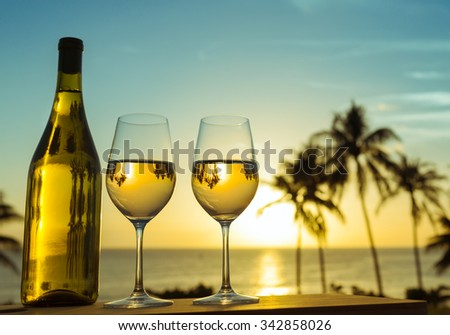 Wine by the sea. - stock photo