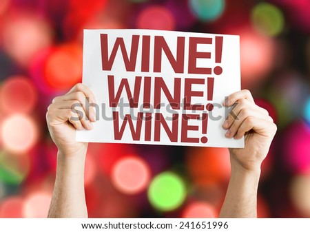 Wine card with colorful background with defocused lights - stock photo