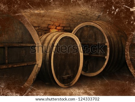Wine cellar with a large oak wine barrels in vintage style - stock photo