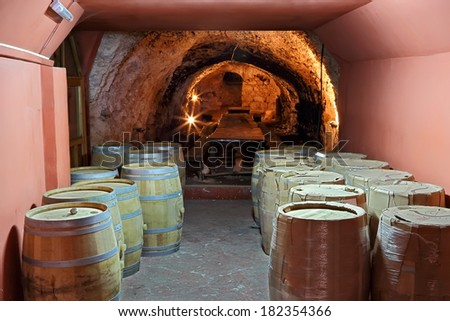Wine cellar with a new wine barrels and hall for tasting in the background - stock photo