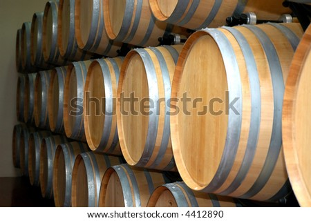 Wine cellars in wine basement - stock photo