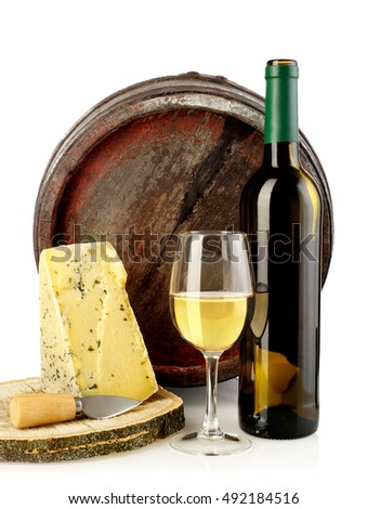 Wine, cheese and barrel