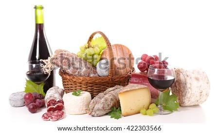 wine,cheese and salami - stock photo