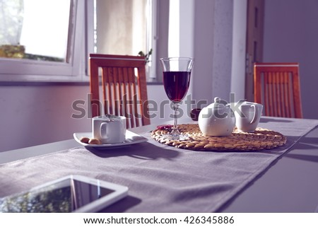 wine coffee and table place