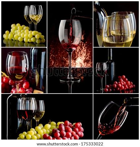 Wine collage - stock photo
