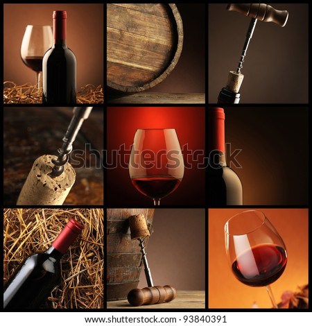 wine collage - stock photo