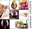 wine collage with barrel, bottle, wineglasses, grape - stock photo