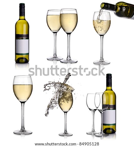 Wine collage with white wine - stock photo