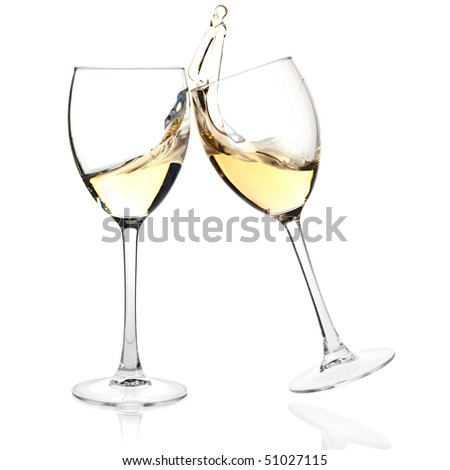 Wine collection - Cheers! Clink glasses with wine. Isolated on white background