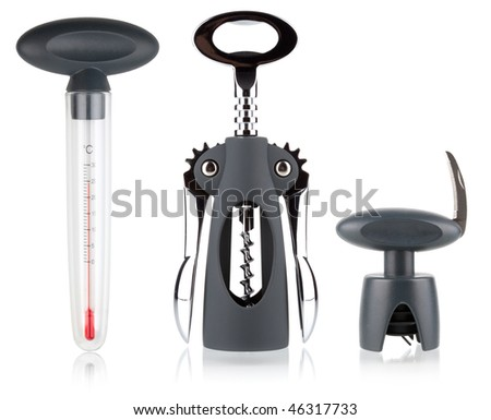 Wine collection - Classic Corkscrew, wine thermometer and cork. Isolated on white background - stock photo