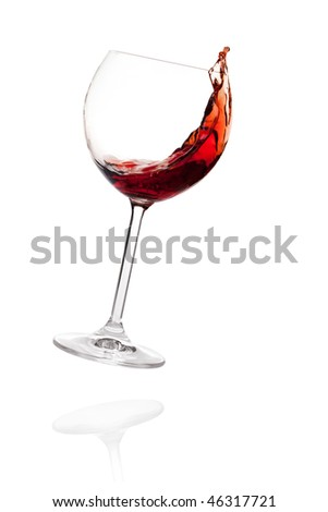 Wine collection - Red wine in falling glass. Isolated on white background
