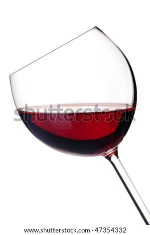 Wine collection - Red wine in glass. Isolated on white background - stock photo