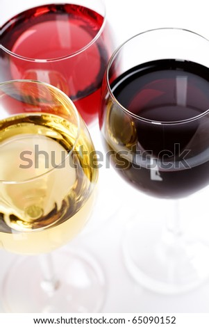 Wine collection - Rose, White and Red wine. - stock photo