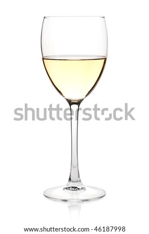 Wine collection - White wine in glass. Isolated on white background - stock photo