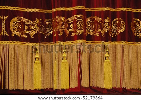 Wine Coloured Drape With Gold Fringe And Tassels