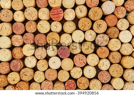 Wine cork background. Background of Various Used Wine Corks close up.  - stock photo