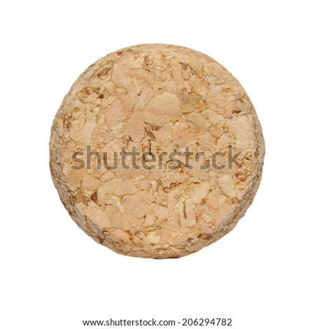 wine cork front isolated on white background - stock photo