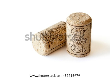 Wine cork isolated on white background - stock photo