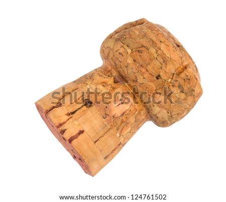 wine cork isolated on white background closeup shot - stock photo
