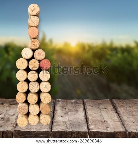 Wine, cork, stain. - stock photo