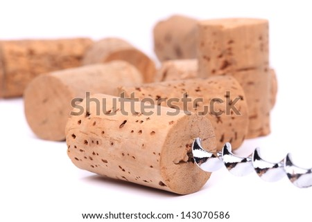 Wine corks and cokcrew - stock photo