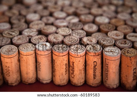 Wine corks arrangement with perspective effect - stock photo