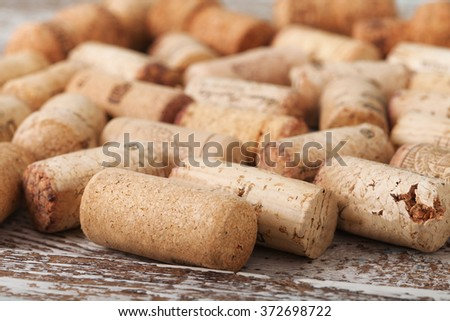 wine corks as background, selective focus close up, top view - stock photo