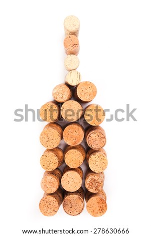 Wine corks isolated on white as a bottle - stock photo