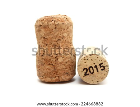 wine corks isolated on white background closeup with 2015 - stock photo