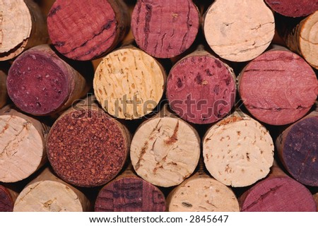 Wine corks lined up in a pattern - stock photo