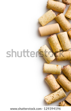 wine corks on white background - stock photo
