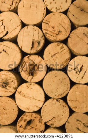wine corks racked together. Collection from a restaurant kitchen - stock photo
