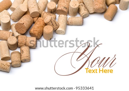 wine corks set  isolated on white with copy spase - stock photo