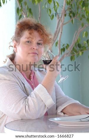 wine drinking - stock photo