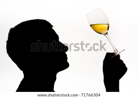 Wine expert testing wine with male in silhouette - stock photo