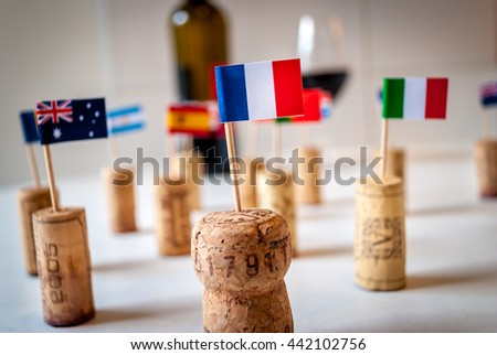 Wine from all over the world with French focus - stock photo