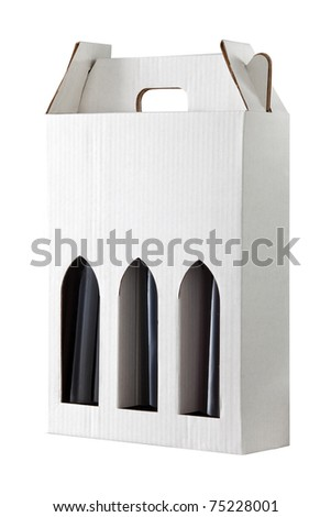Wine gift box isolated on white - stock photo