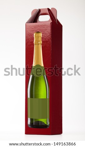 Wine gift box on white. - stock photo